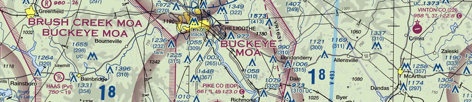 Image of a chart showing special use airspace military operation area or MOA