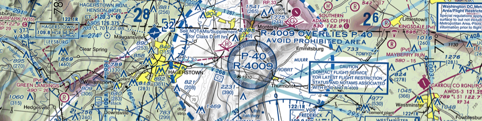 Image depicting a prohibited area of special use airspace