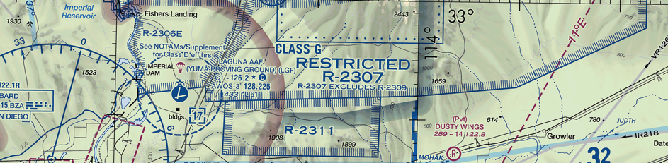 Image depicting restricted area special use airspace on a chart