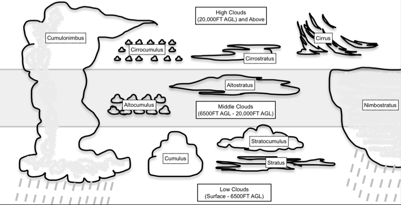 Diagram showing the primary types of clouds